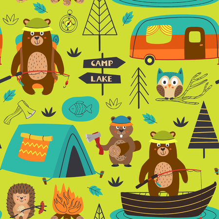 camping seamless pattern with animals on the lake - vector illustration