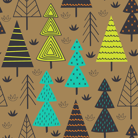 seamless pattern with spruces in the forest - vector illustration Ilustracje wektorowe