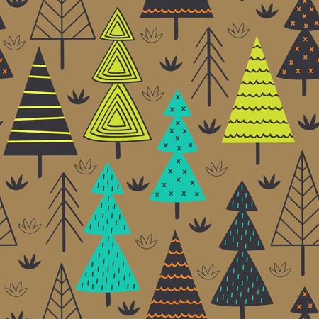 seamless pattern with spruces in the forest - vector illustration Vektoros illusztráció