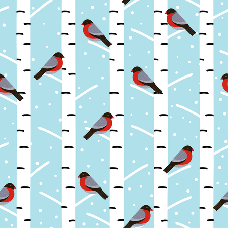 bullfinches on the birch - vector illustration