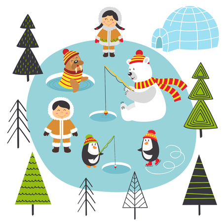 Eskimos and arctic animals on the north