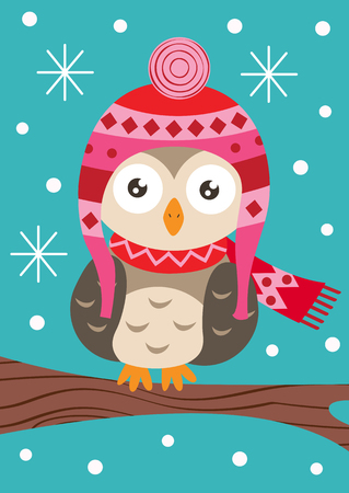 owl on branch in winter - vector illustration