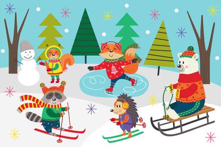 cartel de diversión de invierno - ilustración vectorial