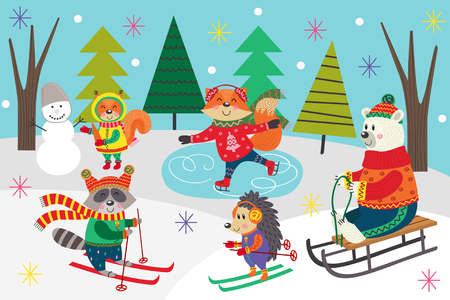 poster winter fun - vector illustration