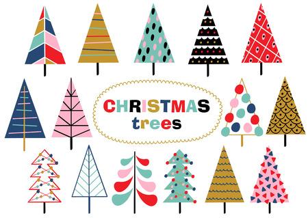 set van geïsoleerde kerstbomen - vectorillustratie