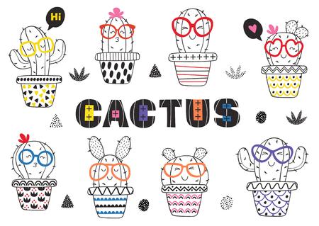cactus in glasses illustration