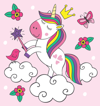 beautiful little unicorn on cloud illustration