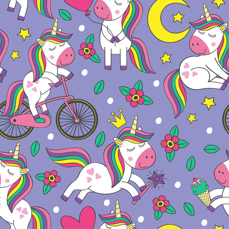modello senza cuciture con illustrazione di piccoli unicorni