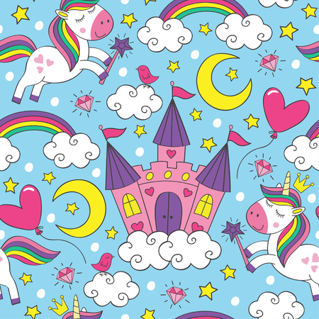 pattern with unicorn and castle illustration 矢量图像