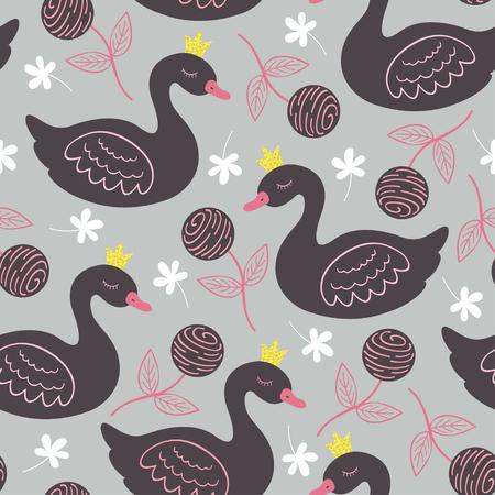 gray seamless pattern princess swan illustration