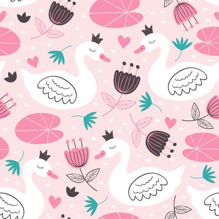 seamless pattern princess swan illustration