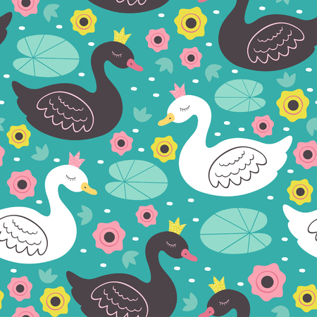seamless pattern with white and black princess swan Illustration