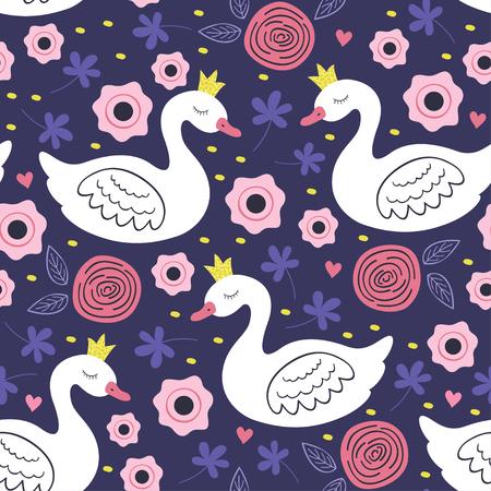 white princess swan seamless pattern