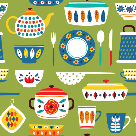 green seamless pattern with vintage kitchen illustration