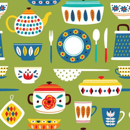 modello senza cuciture verde con illustrazione di cucina vintage Vettoriali