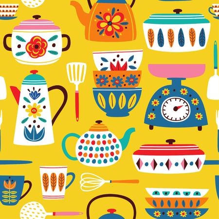 geel naadloos patroon met vintage keukenillustratie