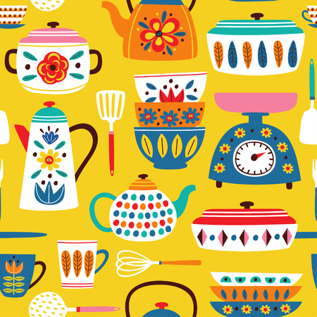 yellow seamless pattern with vintage kitchen illustration  イラスト・ベクター素材
