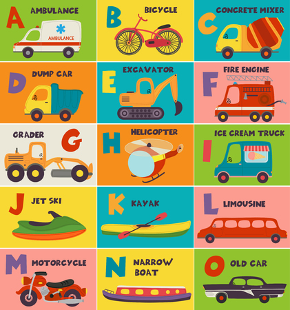 alphabet of a to o - vector illustration