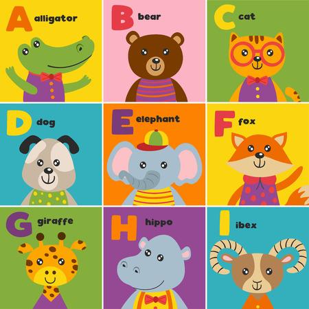 alphabet for animals - vector illustration