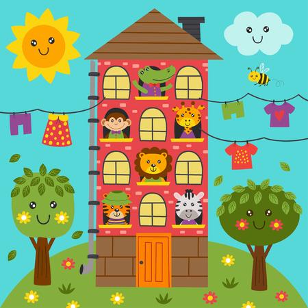 cute animals in the home - vector illustration Vettoriali