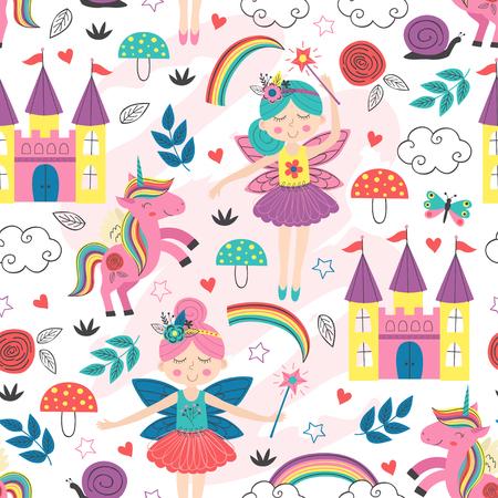 nahtloses Muster mit Feenfiguren - Vektorillustration Vektorgrafik