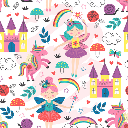 seamless pattern with fairy characters - vector illustration