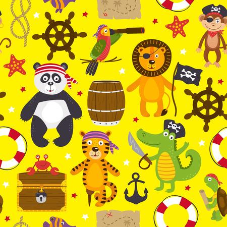 modèle sans couture avec des animaux pirates - vector illustration Vecteurs