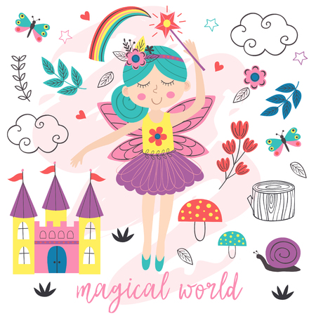 poster magical world with fairy - vector illustration