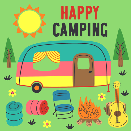 poster happy camping with a trailer - vector illustration Illustration