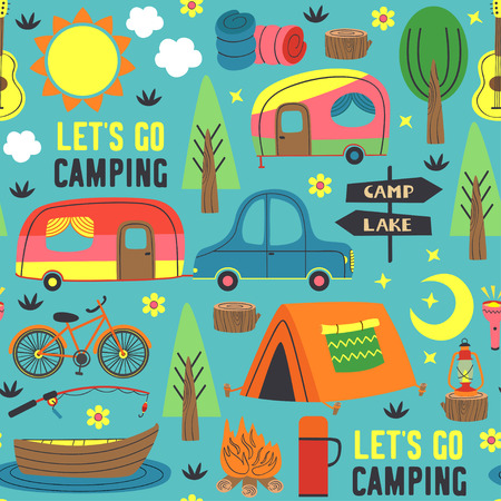 seamless pattern with summer camping - vector illustration