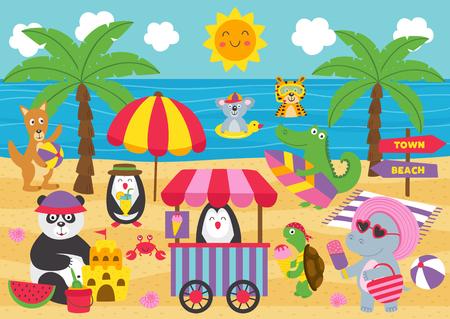 Los animales se relajan en la playa - ilustración vectorial