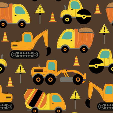 seamless pattern with work trucks - vector illustration Stock Illustratie