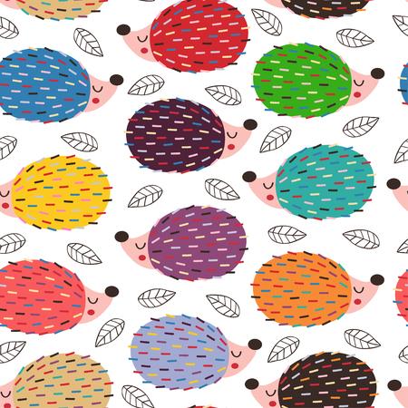 modèle sans couture avec des hérissons colorés - vector illustration
