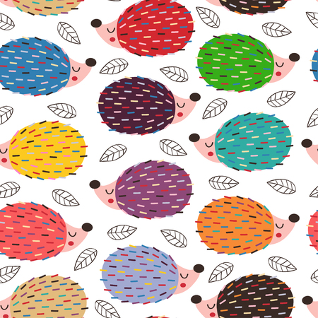 seamless pattern with colorful hedgehogs - vector illustration Çizim