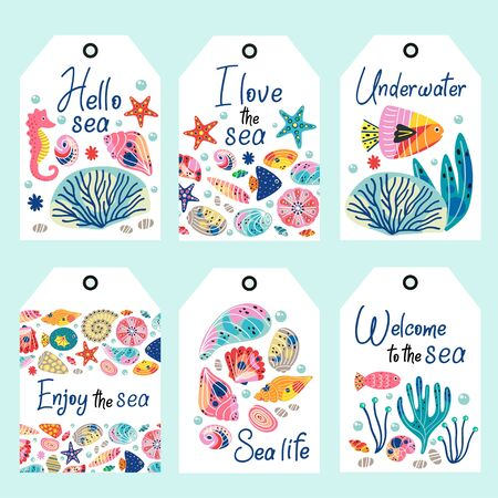 set of underwater sea life tags - vector illustration, eps