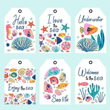 zestaw tagów podwodnego życia morskiego - ilustracja wektorowa, eps