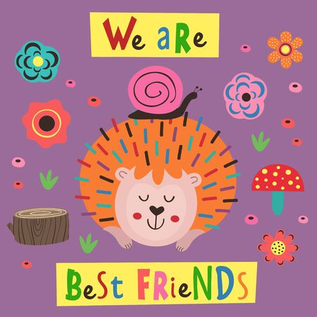 poster, hedgehog and a snail - vector illustration, eps Illustration