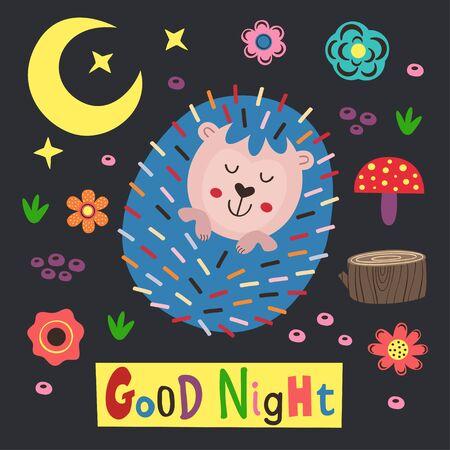 poster colorful hedgehog - vector illustration, eps