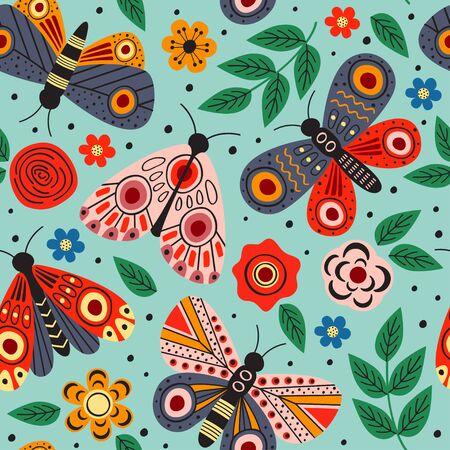 seamless pattern with butterflies - vector illustration, Standard-Bild - 127789342