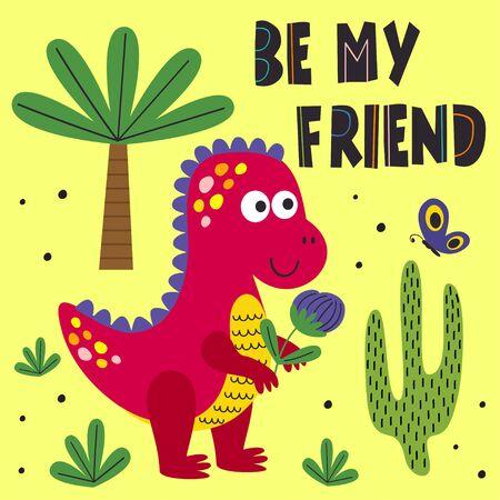 poster with friendly dinosaur - vector illustration, Standard-Bild - 127789340