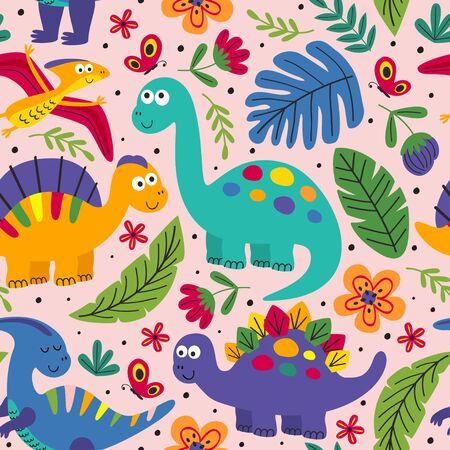 seamless pattern with cute dinosaurs - vector illustration, Standard-Bild - 127789341