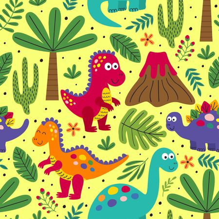seamless pattern with cute dinosaurs - vector illustration, Standard-Bild - 127789343