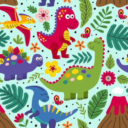 seamless pattern with cute dinosaurs - vector illustration, Illustration
