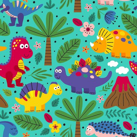 seamless pattern with cute dinosaurs - vector illustration, Standard-Bild - 127789344