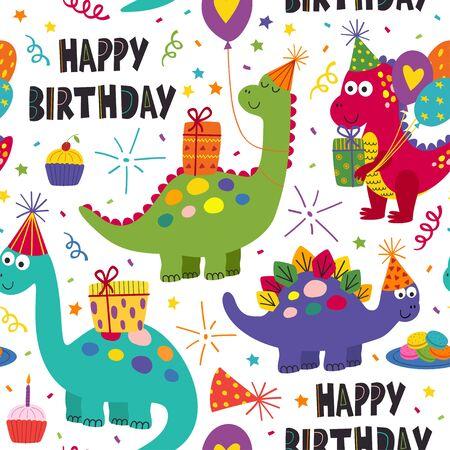 happy birthday seamless pattern with cute dinosaurs - vector illustration Standard-Bild - 127789345