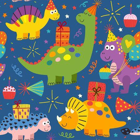happy birthday seamless pattern with cute dinosaurs - vector illustration Standard-Bild - 127789350