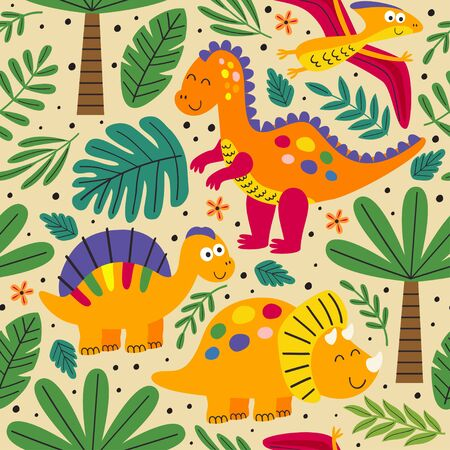 seamless pattern with wild and free dinosaurs - vector illustration Standard-Bild - 127789353