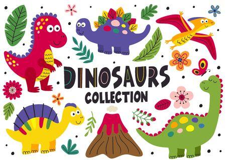 set of isolated cute dinosaurs - vector illustration Standard-Bild - 127789351
