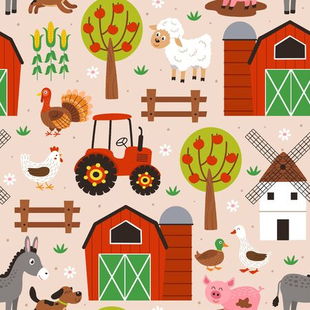 seamless pattern with happy animal farm