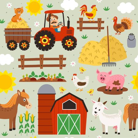 seamless pattern with farmer riding a tractor and farm animals